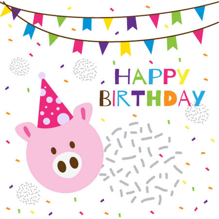happy birthday text with cute pig head