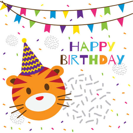 happy birthday text with cute tiger head
