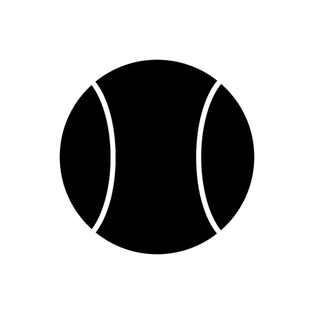 Black Tennis Ball Silhouette Isolated on White Background