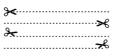 Set di forbici nere con taglio di linee vettore isolato Vettoriali