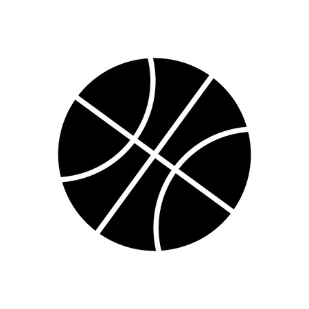 dribble: Black and White Basketball Ball Silhouette Vector Icon Isolated