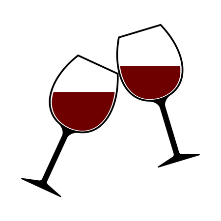 Red Wine Glasses Clink Vector Isolated, Cheers Vettoriali