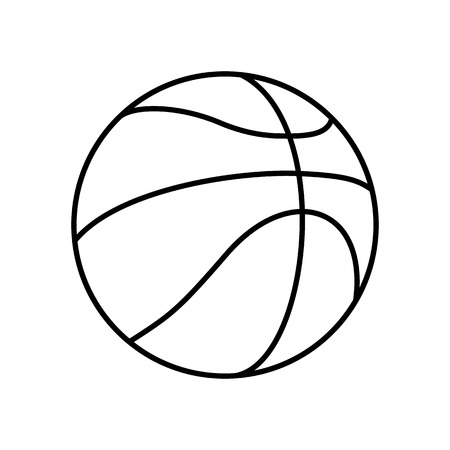 Black and White Basketball Ball Outline Vector Icon Isolated