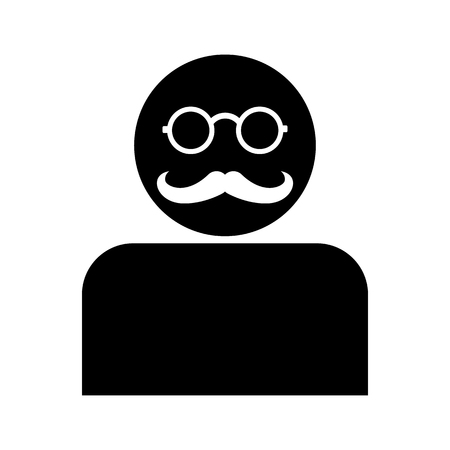 Man with Mustache and Glasses Silhouette - Avatar Isolated