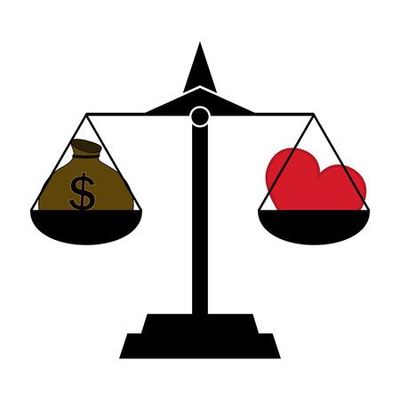 Money Bag and Heart (Love) Balance on a Scale - Choice, Harmony, Happiness Ilustrace