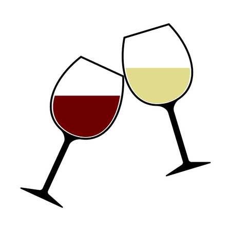 birthday celebration: Red and White Wine Glasses Clink Isolated, Cheers