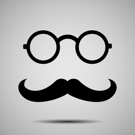 Round Glasses and Retro Style Mustache Silhouette Isolated