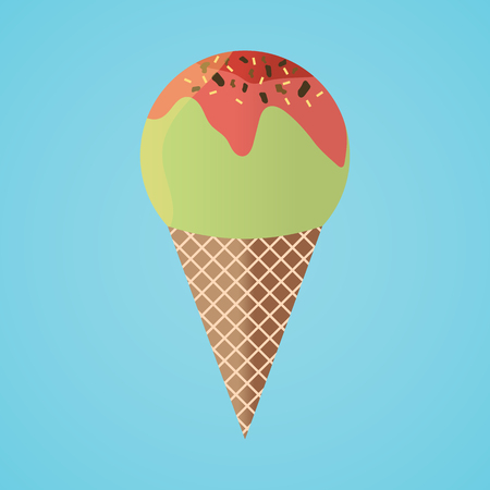 Refreshing Cone Ice Cream Isolated Stock Photo