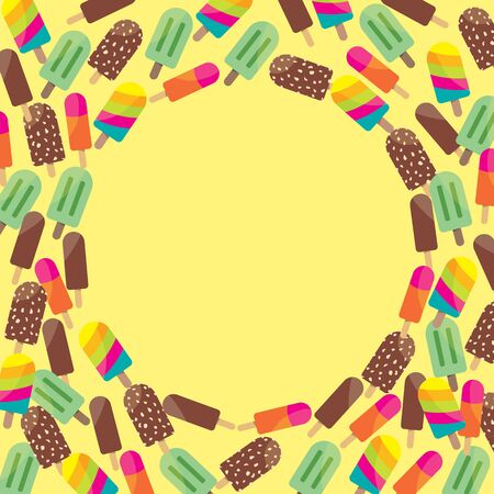 Colorful Ice Cream on Yellow, Blank Circle to Write Something