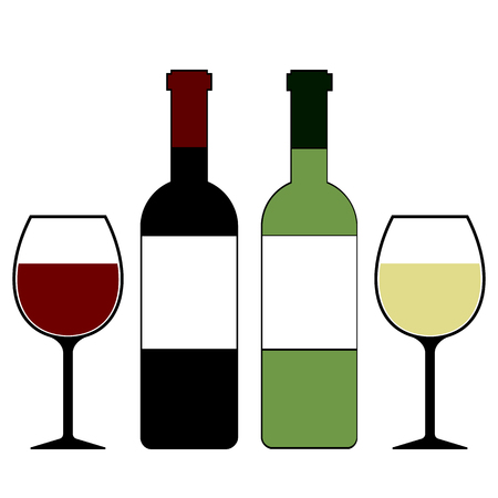 Red and White Wine Bottles and Glasses Isolated Vector Illustration Illustration