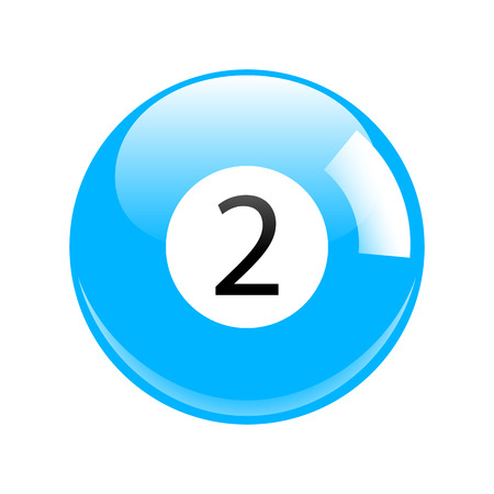 billiard ball: Shiny Blue Two Pool - Billiard Ball Icon Vector Isolated Illustration