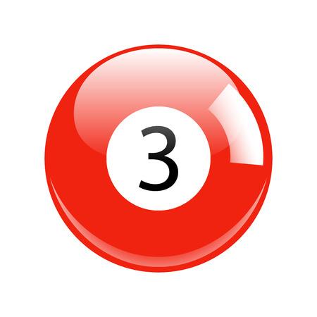 billiard ball: Shiny Red Three Pool - Billiard Ball Icon Vector Isolated