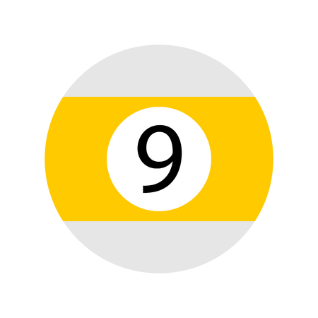Flat Yellow Nine Pool - Billiard Ball Icon Vector Isolated
