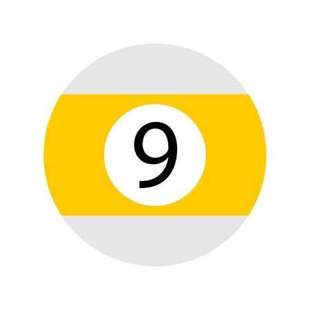 Flat Yellow Nine Pool - Billiard Ball Icon Vector Isolated