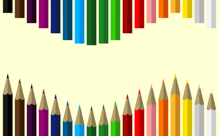 Set of Colored Pencils Forming a Wave with Space for Your Content Inside Illustration