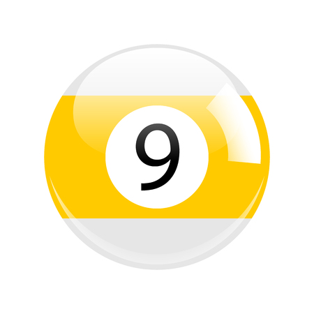 Shiny Yellow Nine Pool - Billiard Ball Icon Vector Isolated