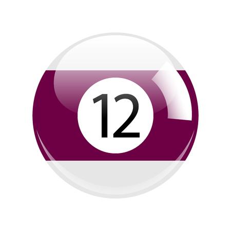 Shiny Purple Twelve Pool - Billiard Ball Icon Isolated Stock Photo