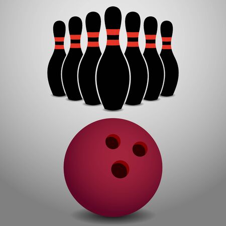 Bowling Ball Rolling, About to Strike a Row of Pins Illustration