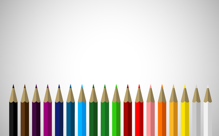 Set of Colored Pencils in a Row with Space for Your Content Above