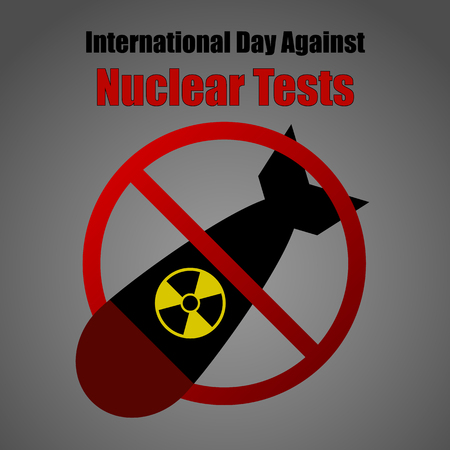 radioactive sign: Nuclear Tests Forbidden Sign Illustration - Nuclear Threat, Anti War, Military Stock Photo