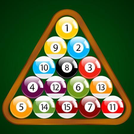 Billiard - Pool - Snooker Balls in a Triangle Wooden Rack Vector Set Illustration