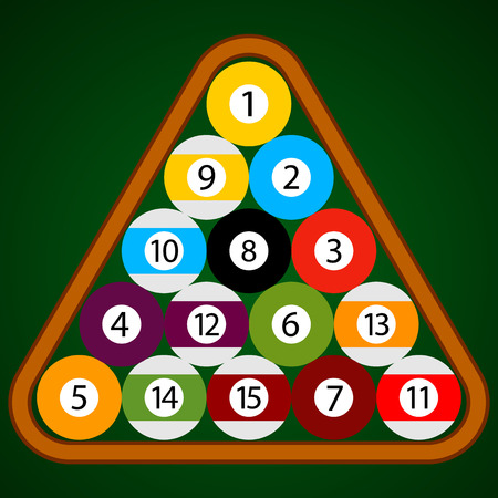 number eleven: Billiard - Pool - Snooker Balls in a Triangle Wooden Rack Vector Set Illustration