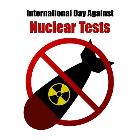 radioactive warning symbol: Nuclear Tests Forbidden Sign Illustration - Nuclear Threat, Anti War, Mililtary Stock Photo