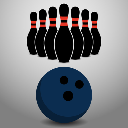 about: Bowling Ball Rolling, About to Strike a Row of Pins Vector Illustration