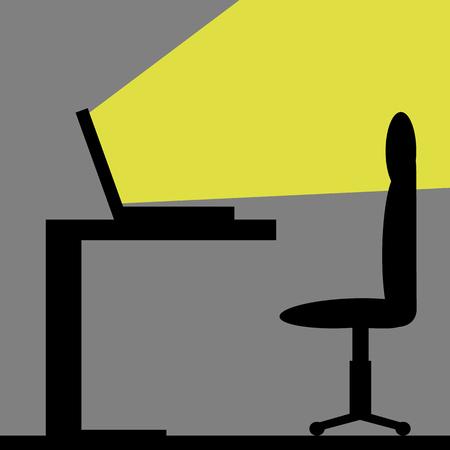 Licht komt uit een laptop in een donkere kamer, concept - mogelijkheden, kennis, eenzaamheid Stock Illustratie
