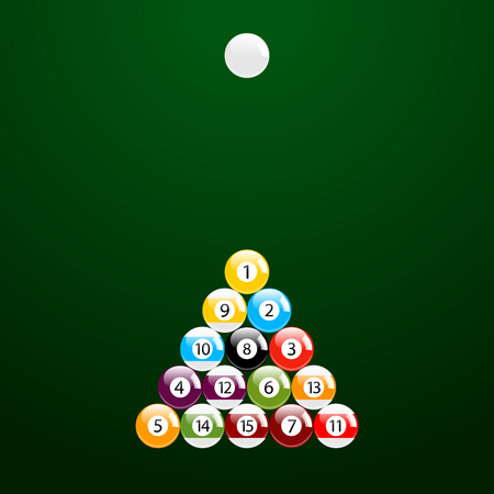 12: Billiard - Pool - Snooker Balls in Triangle and a White Ball Vector Set Illustration
