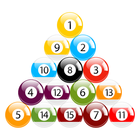 Billiard - Pool - Snooker Balls in Triangle Vector Set Isolated