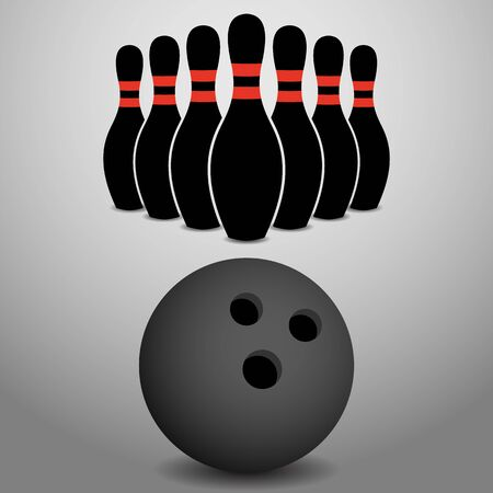 Bowling Ball Rolling, About to Strike a Row of Pins Vector Illustration