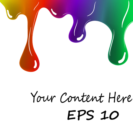 Colorful Paint Dripping on White Background - Colorful Ink