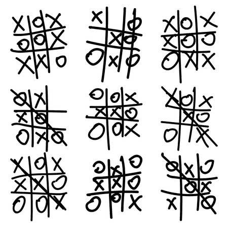 Hand Drawn Tic Tac Toe Elements Set Isolated