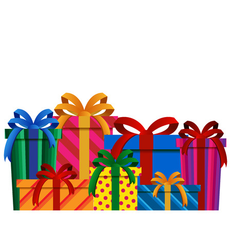 celebrate: Big Pile of Colorful Christmas Gift Boxes Isolated
