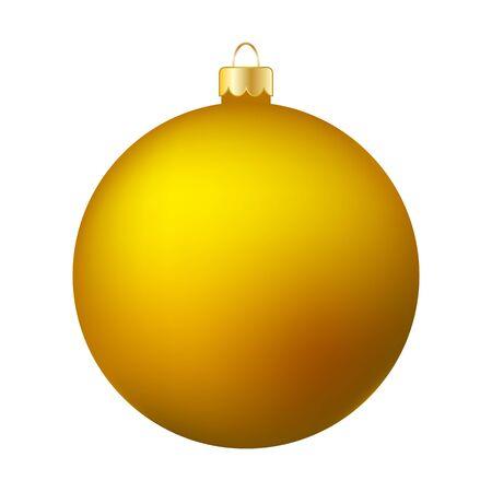 Yellow Christmas Ball Isolated on White - Merry Christmas! Reklamní fotografie