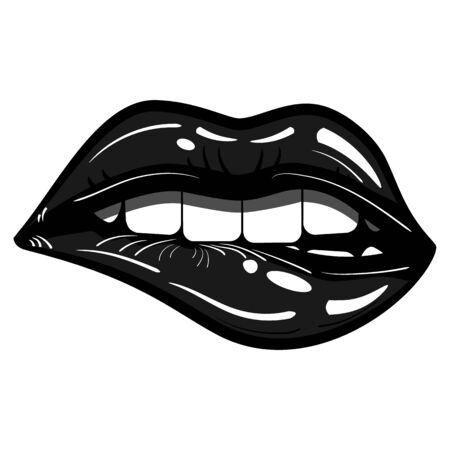 Sexy Black Lips Passionate Biting Isolated - Evil, Seduction Reklamní fotografie