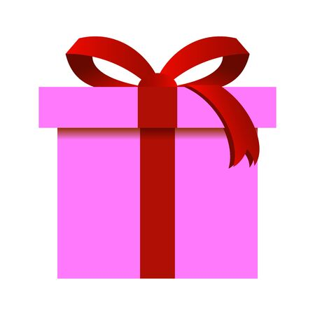 Christmas Gift Box with Pink Wrapping Isolated