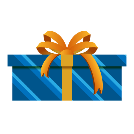 Christmas Gift Box with Blue Wrapping Isolated