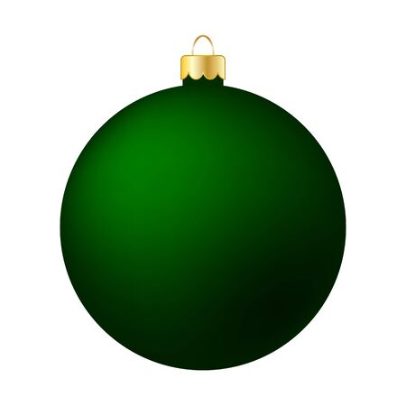 Green Christmas Ball Isolated on White - Merry Christmas!