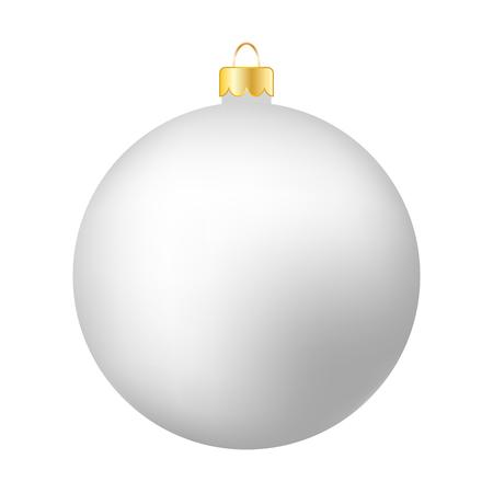White Christmas Ball Isolated on White - Merry Christmas! Reklamní fotografie
