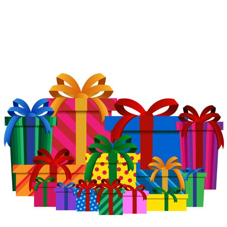 Big Pile of Colorful Christmas Gift Boxes Isolated