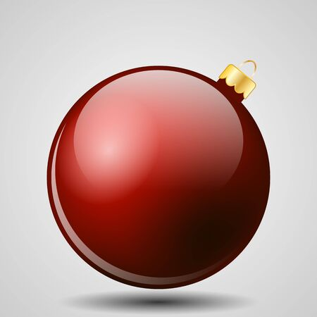 Red Christmas Ball Isolated on White - Merry Christmas!