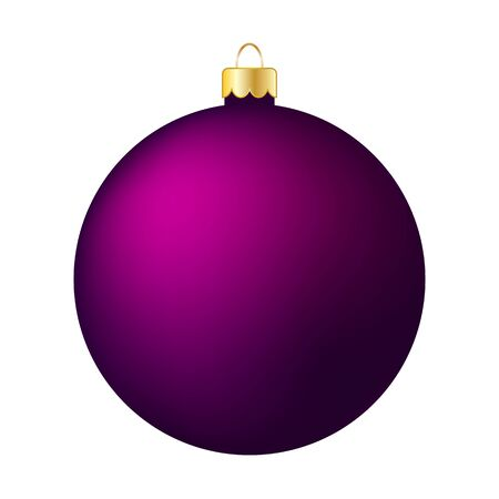 Purple Christmas Ball Isolated on White - Merry Christmas!