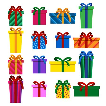 Fancy Set of Colorful Christmas Gift Boxes Isolated