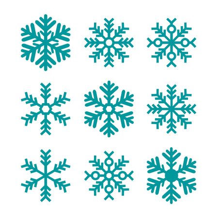 Blue Snowflakes Set Isolated - Christmas, Winter, Cold