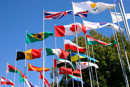 flagpoles: flags on flagpoles