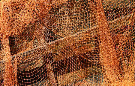 laid: Fishing nets laid out to dry Stock Photo