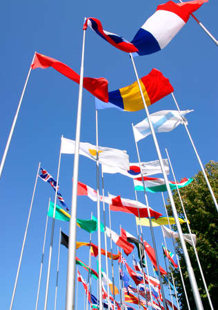 freely: National flags flutters freely