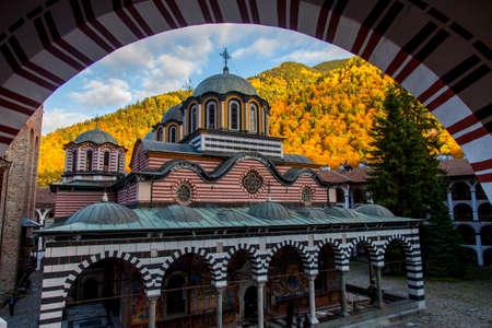beautiful colorful autumn church in Rila Monastery in Bulgaria